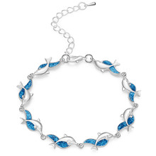 Charm Summer Dolphin Turtle Bracelet Blue Opal Silver Color Hand Chain Beach Jewelry Bracelet Femme Bijoux(China)