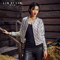 2017 Women's Leather Jacket Short Paragraph Coat Quilted Plus Cotton Embroidery Sheep Skin Baseball Uniform 2016