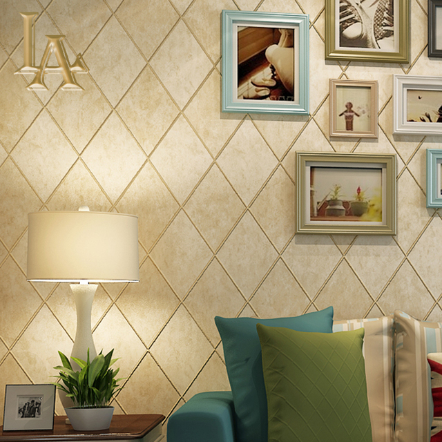 NoEnName_Null Simple American Rustic 3D Plaid Wallpaper Home Decor ...