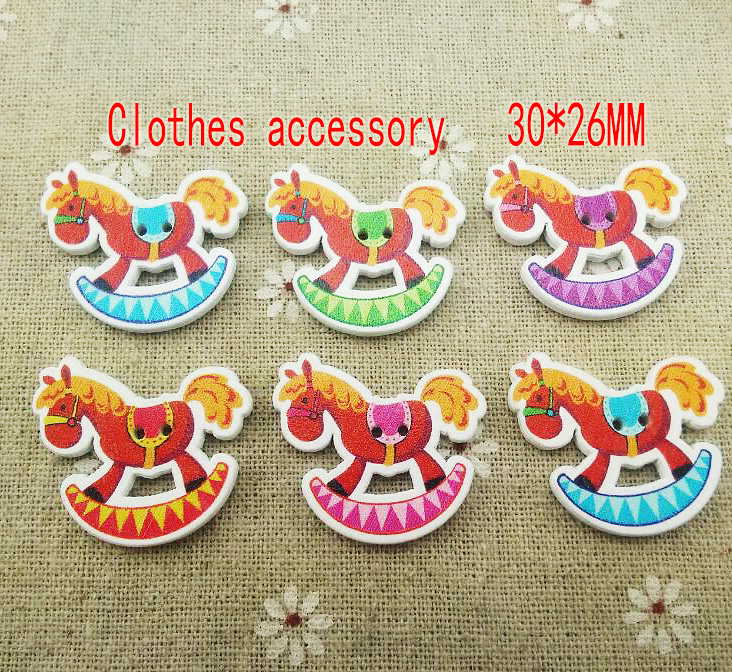 100PCS Trojan horse painting wood buttons kid clothes accessory jewelry fit craft WCF-347