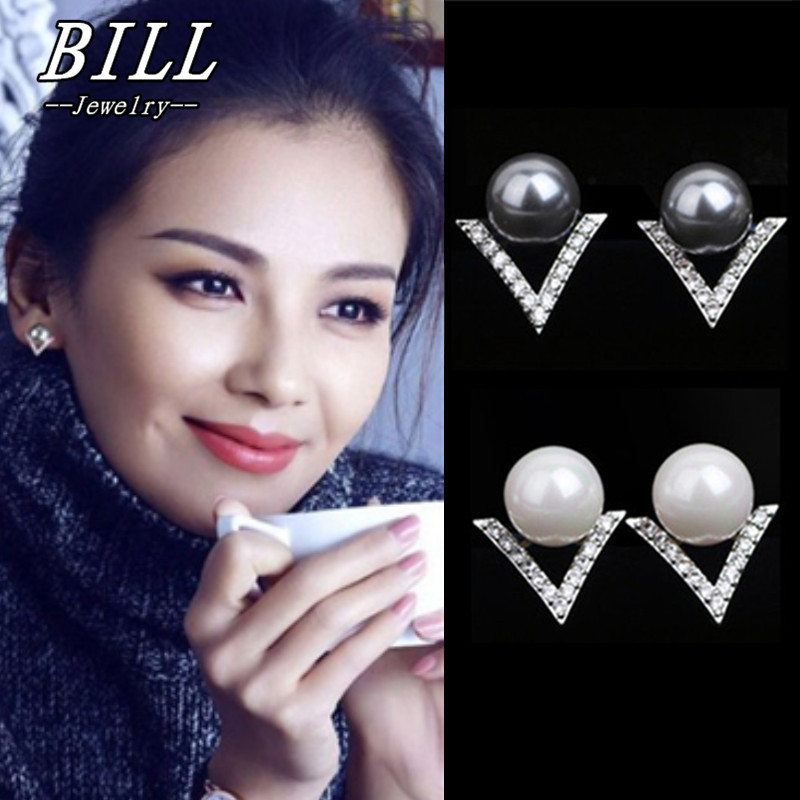 Stud Earrings Elegant Simulated Pearls Earring Brincos boucle d'oreille 2018 Crystal Bijoux HOT Selling