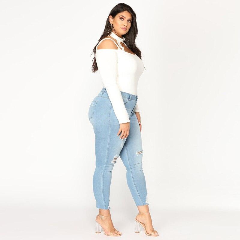 Hole Skinny Jeans Women High Waist Pencil Pants Washed Denim Plus Size 5XL 6XL 7XL Boyfriends Female Vintage Blue Female Jeans