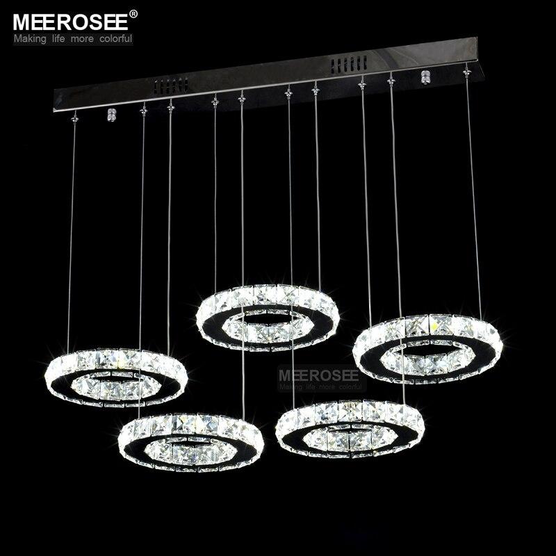 Bonne Qualité Chrome Lustre En Cristal LED Lampe De Bague De Diamant Cercle En Acier Inoxydable Suspendus Luminaires Éclairage LED Lustres