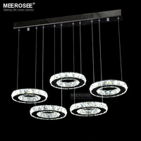 Good Quality Chrome Crystal Chandelier LED Diamond Ring Lamp Circle Stainless Steel Hanging Light Fixtures Lighting