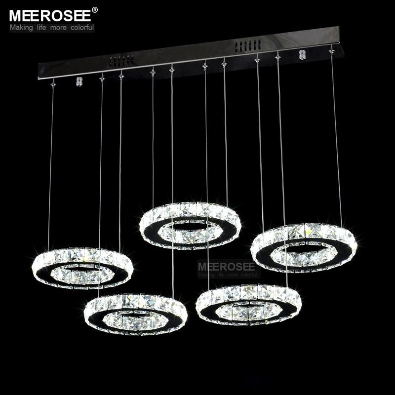 Good Quality Chrome Crystal Chandelier LED <font><b>Diamond</b></font> Ring Lamp Circle Stainless Steel Hanging Light Fixtures Lighting LED Lustres