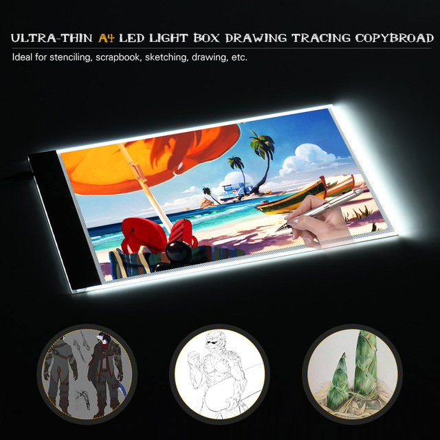 Aibecy A4 LED Light Box Drawing Tracing Tracer Copy Board LED Light Pad Panel Copyboard with USB Cable for Artist Animation