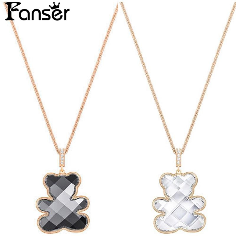 FANSER New Teddy Bear Pendant Necklace Swarovsk Sweater Chain Has Logo 100%Pure Silver Original Copy Factory Wholesale Free Mail