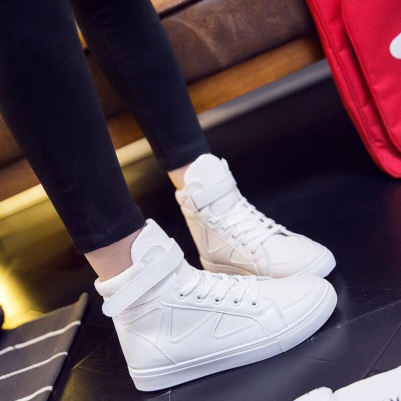 2017 Женская Осенняя классическая спортивная парусиновая обувь женские высокие, чтобы по ...