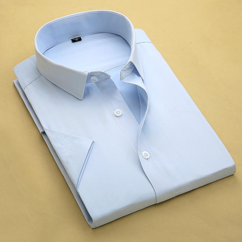 Summer Men Dress Shirt Short Sleeve Solid White Color Man Shirts Male Work Wear camisa masculina