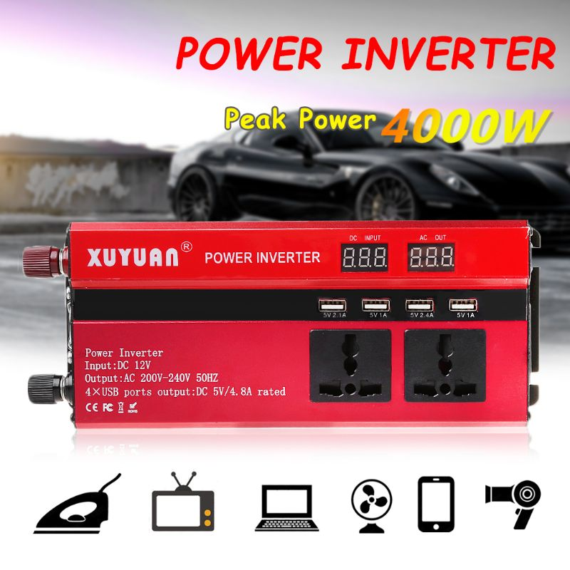 4000W Solar Car Power Inverter LED DC12/24V to AC110/220V Sine Wave Converter 4 USB Interfaces4000W Solar Car Power Inverter LED DC12/24V to AC110/220V Sine Wave Converter 4 USB Interfaces