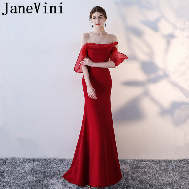 5819e5258e91 JaneVini Vestidos Mermaid Mother of the Bride Dresses Strapless Ruffles  Simple Evening Gowns Sweep Train Vestido De Festa Longo