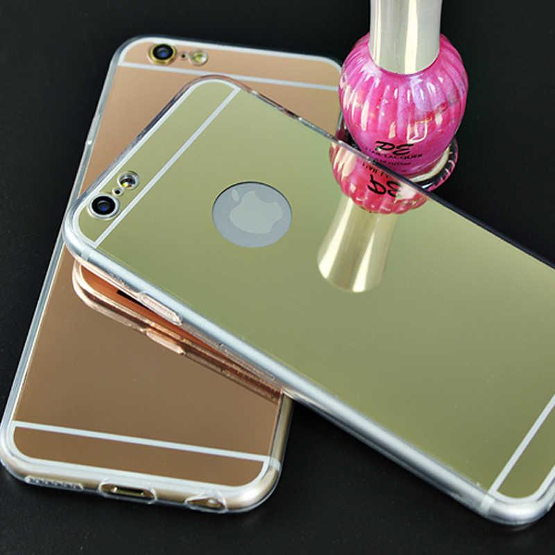 熱い!高級ミラー電気めっきソフトクリアtpuケースiphone用6/6 s 4.7インチ/6プラス5.5インチ5 5 s se裏表紙バッグ小箱