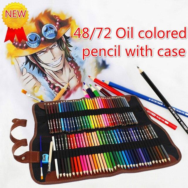 طقم أقلام رصاص ملونة من الخشب 48/72 لونًا طقم أقلام رسم حقيبة أقلام رصاص حقائب لوحة فنية للمدرسة