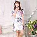 Branco estilo chinês flor de impressão e pavão Robe feminino camisola Rayon Dress vestido de verão de nova Sleepwear pijamas um tamanho WC093