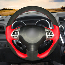 Black Suede Red leather Hand Sew Wrap Car Steering Wheel Cover  For Mitsubishi Lancer X 10 2007-2015 Outlander 2006-2013