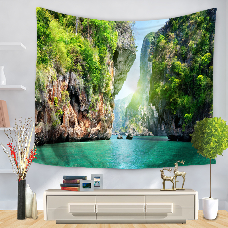 Home Decorative Wall Hanging Carpet Tapestry Rectangle Bedspread Nature Scenic Photo Farm Lake Windmill Pattern GT1204