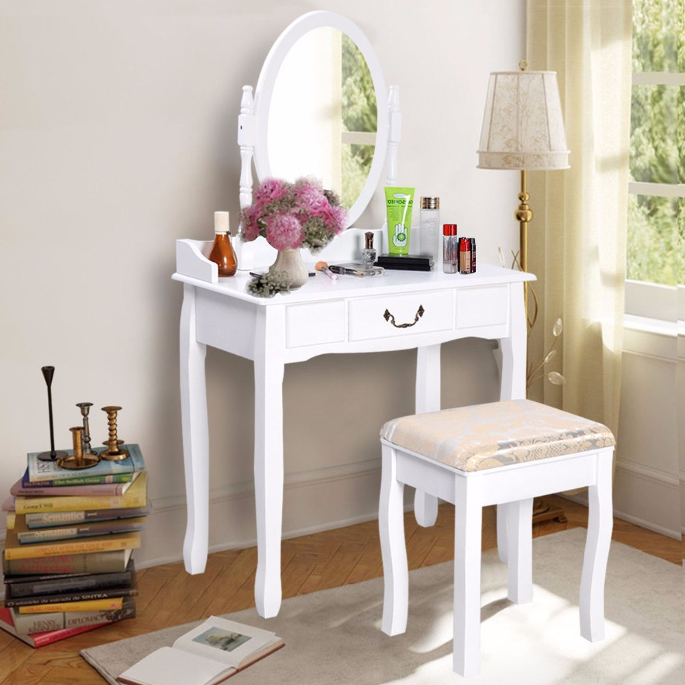 Goplus 2017 New Makeup Dressing Table Vanity and Stool Set White Makeup dresser Table wi ...