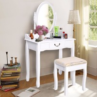 Vanity Table Jewelry Makeup Desk Bench Dresser W Stool Drawer White New Free Shipping HW50200