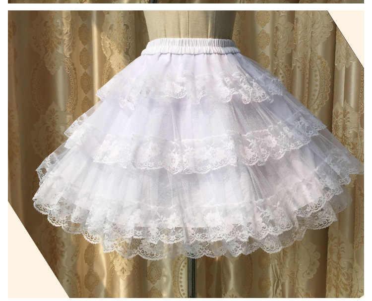 3 strati Hoopless Bianco/Nero Del Merletto Petticoat Donne Breve Gonne UNA Linea Da Sposa underskirt crinoline Petticoat 2019