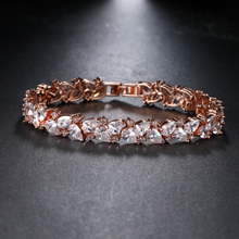 Luxury New Tendency Unique Rose Gold Color Charm Beauty AAA+ Cubic Zirconia Bracelet For Women Party Gifts Factory Direct B-080 new bracelet for women gold plated color aaa cubic zirconia charm bracelets