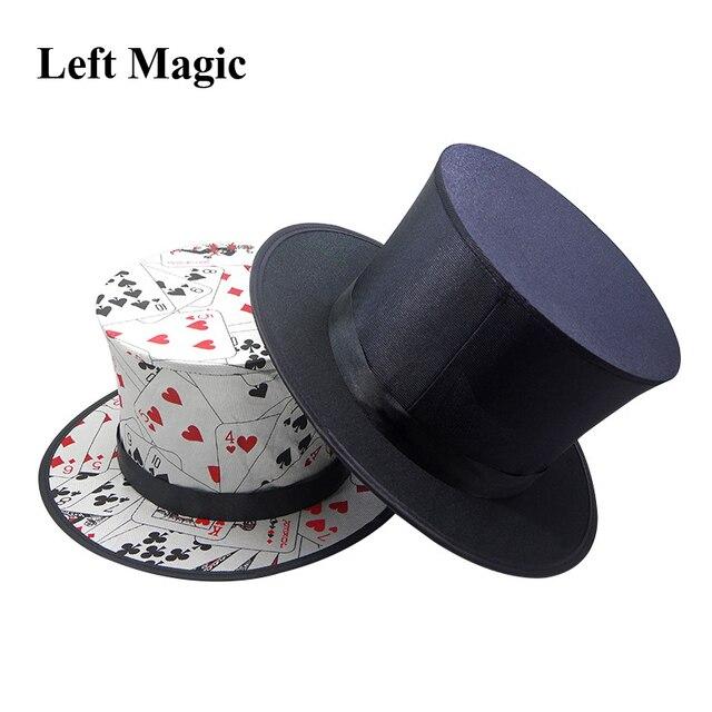 قبعة علوية قابلة للطي خدع سحرية ربيعية (نمط بطاقة اللعب والأسود) لأغراض الظهور/التلاشي ملحقات المسرح للقبعة