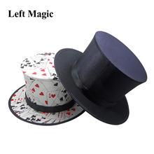 Folding Top Hat Spring Magic Tricks ( Black &  Playing Card Pattern )Appearing/Vanishing Objects Hat Stage Accessories Gimmick