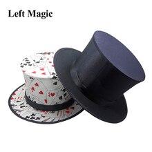 Folding topo chapéu primavera truques mágicos (preto e padrão de cartão de jogo) aparecendo/objetos de desaparecimento chapéu acessórios de palco gimmick