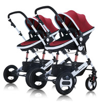 High Landscape Twins Baby Strollers Double Shock Split Multiple Children Trolley Folding Widened Seat Portable Newborn Cart Pram