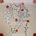 6mm perlas de acylic collar del rosario, icon rosario rosario católico con la cruz de la aleación y rosario central