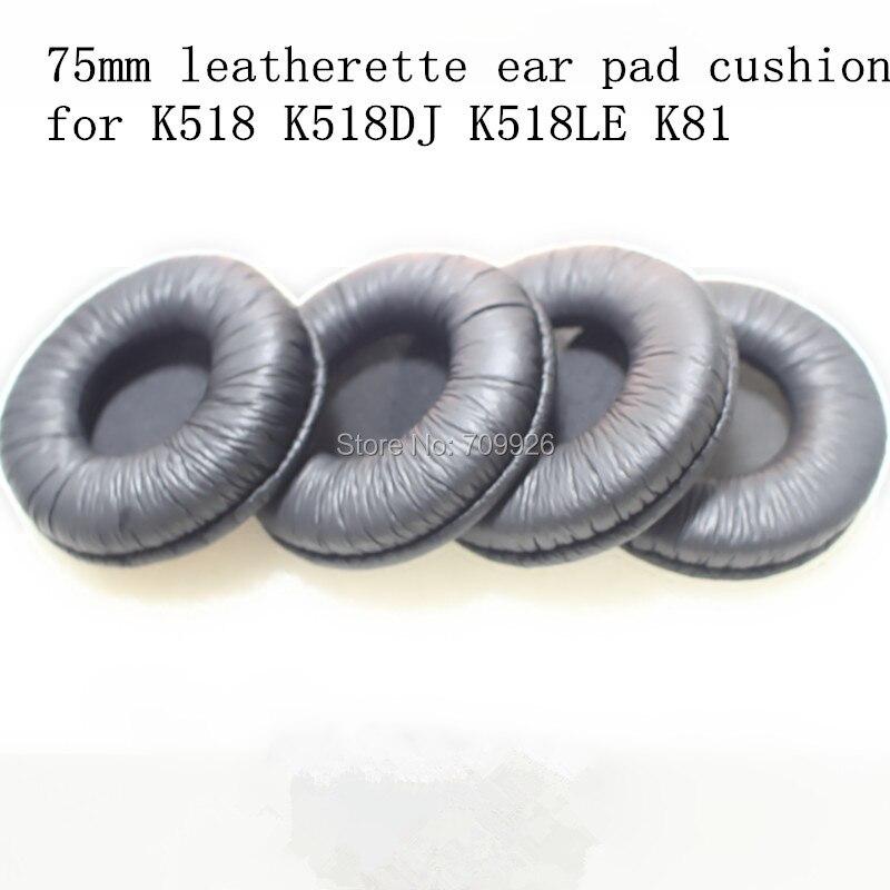 Linhuipad 10 pack = 5 pairs 75mm de Couro Sintético de ouvido fone de ouvido duráveis almofadas 7.5 cm para K518 almofadas K518DJ K81 K518LE