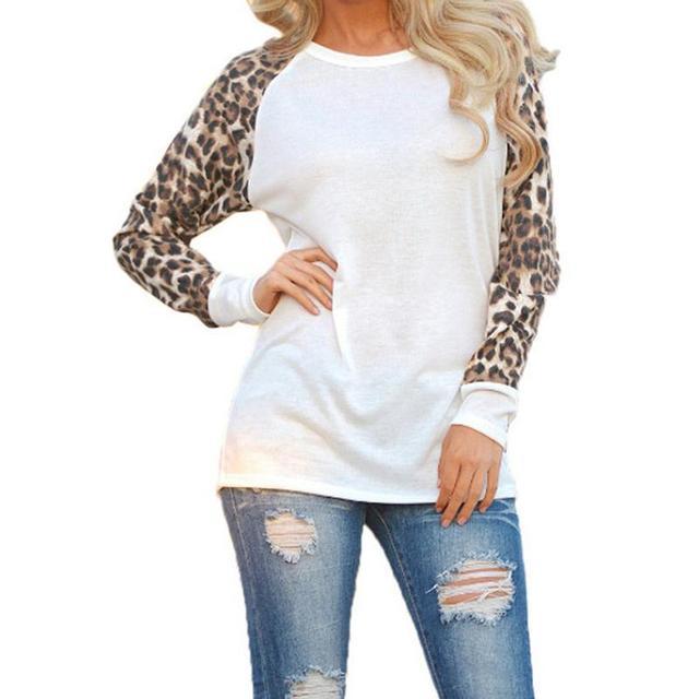 2018 модные женские туфли Футболки Демисезонный шифон с длинным рукавом женские леопардовые Свободные повседневные футболки плюс Размеры Топы корректирующие женские футболка 3XL