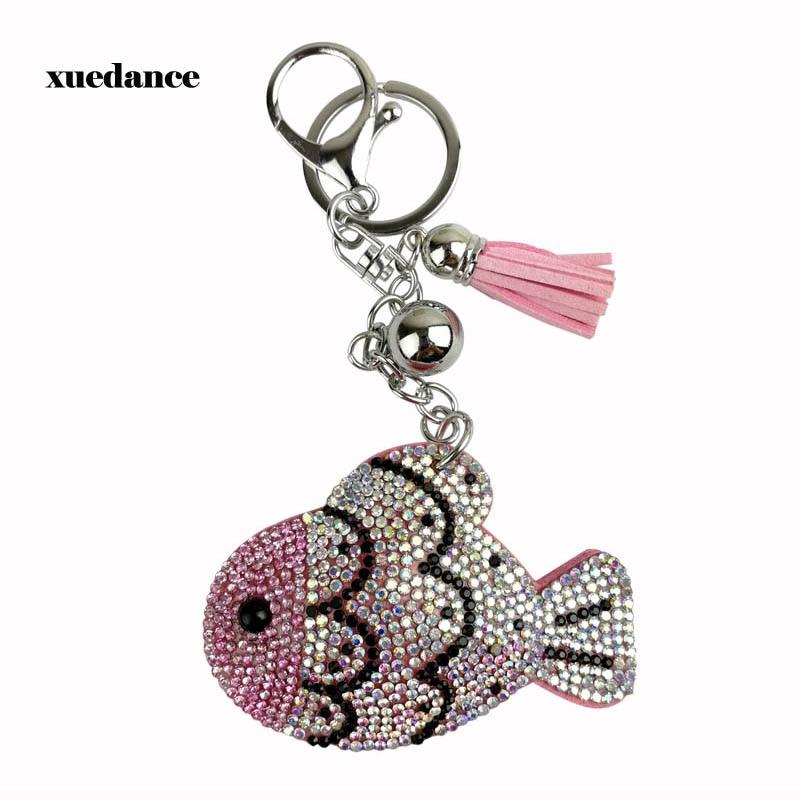 Fashionable Accessory Key Ring Shiny Rhinestone Decoration Fish Shape Pendant Keychain Glitter Phone Car Wallet Bag