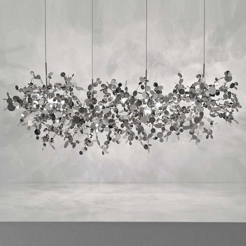 terzani argent lighting hand made stainless steel leaf chandelier lamp for living room/bedroom home deor lighting