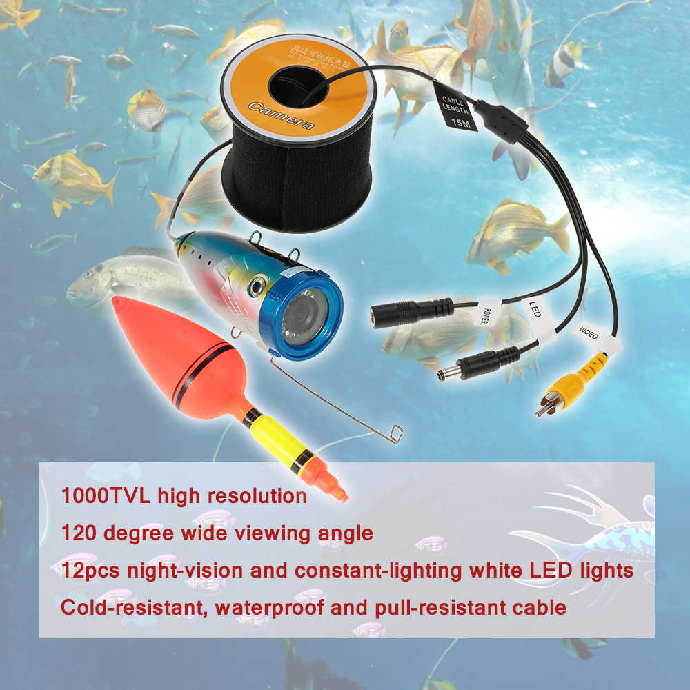 1000 TVL Underwater Fishing Camera 15M/30M Cable Fish Finder Ice Fishing Camera With 12PCS White LED Lights + Float