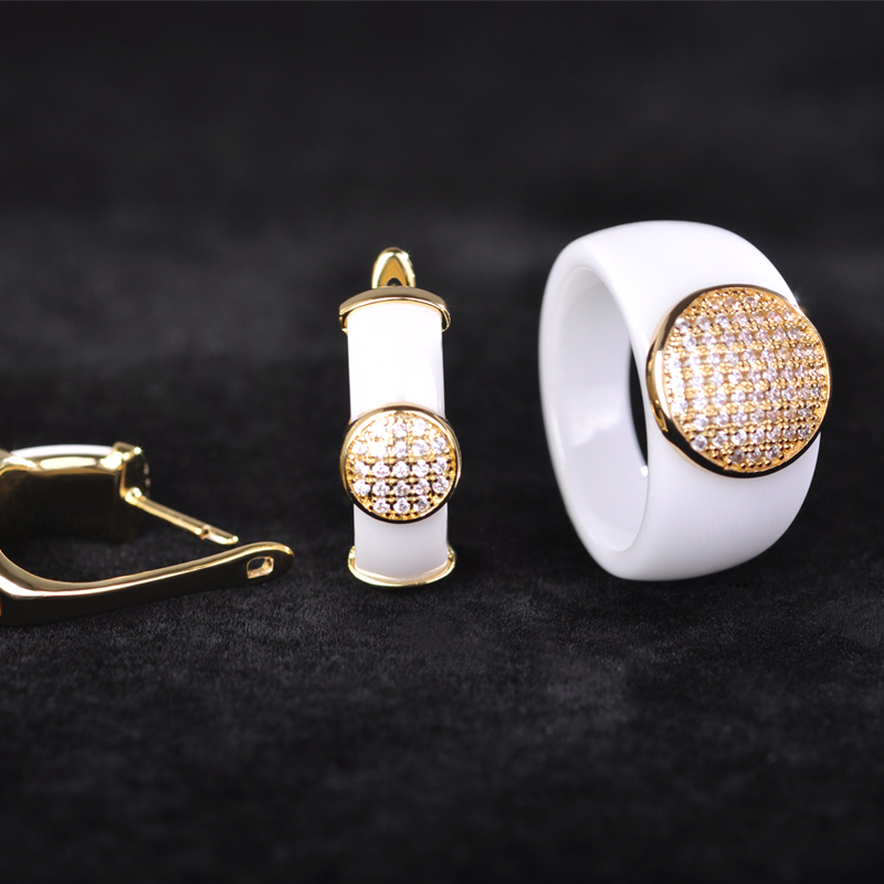 Blucome Luxury White Ceramic Earrings Ring Set Women font b Wedding b font font b Jewelry