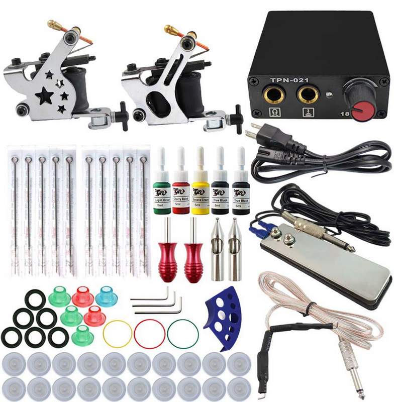Complete tattoo kit 2 guns machines 5 ink sets power supply disposable needle Cord Kit Body Beauty DIY Tool Tattoo set 100pcs box zhongyan taihe acupuncture needle disposable needle beauty massage needle with tube