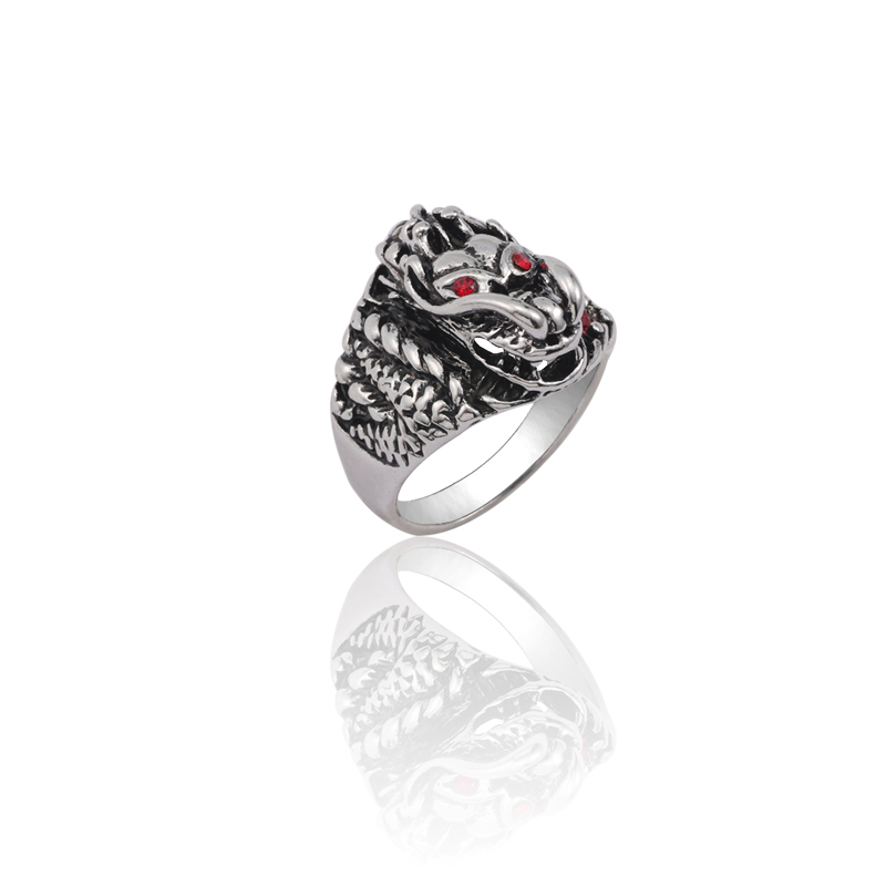 Fashion Personality Punk Cool Mens Ring Vintage Silver Stainless Steel Faucet Red Crystal Eye Animal Gothic Gift
