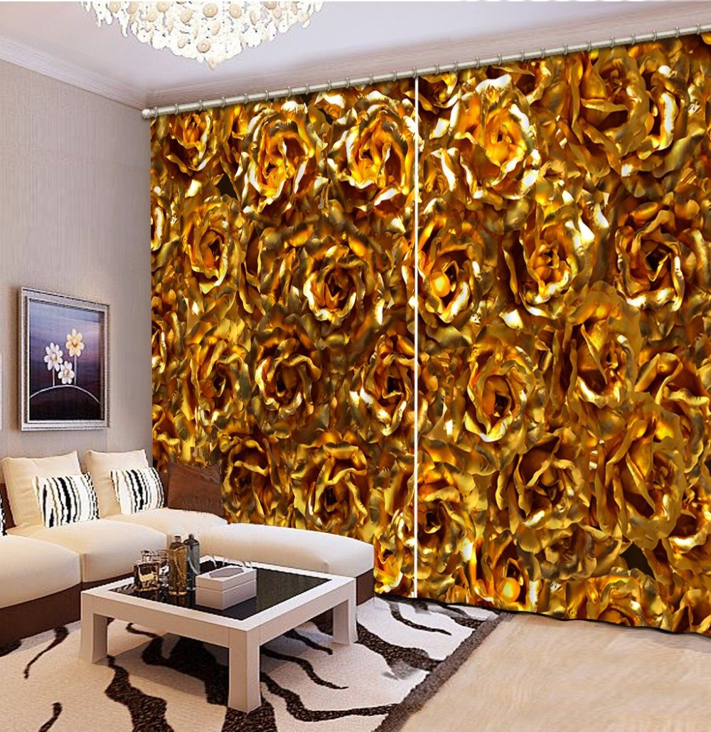 rose curtain 3D Curtain Printing Blockout Polyester Photo Drapes Fabric For Room golden curtainsrose curtain 3D Curtain Printing Blockout Polyester Photo Drapes Fabric For Room golden curtains