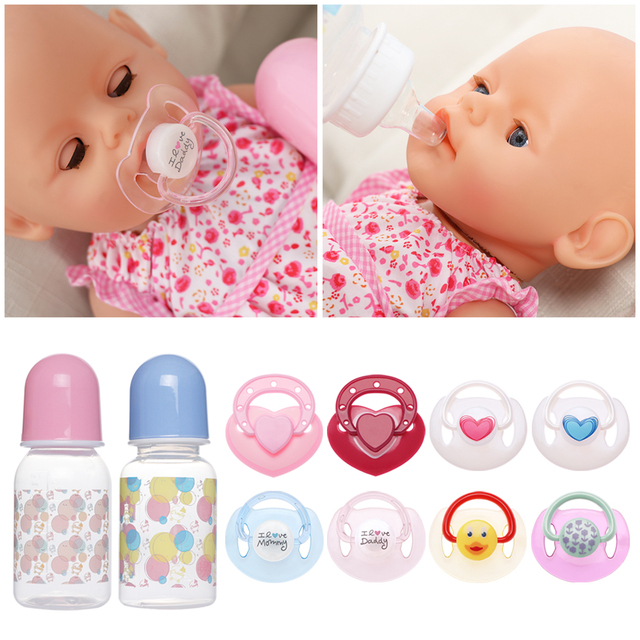 Newborn Doll Dummy Pacifier +Magnet Nipples Magnetic Pacifiers Reborn Baby  Dolls Nursing Bottle Doll Toy
