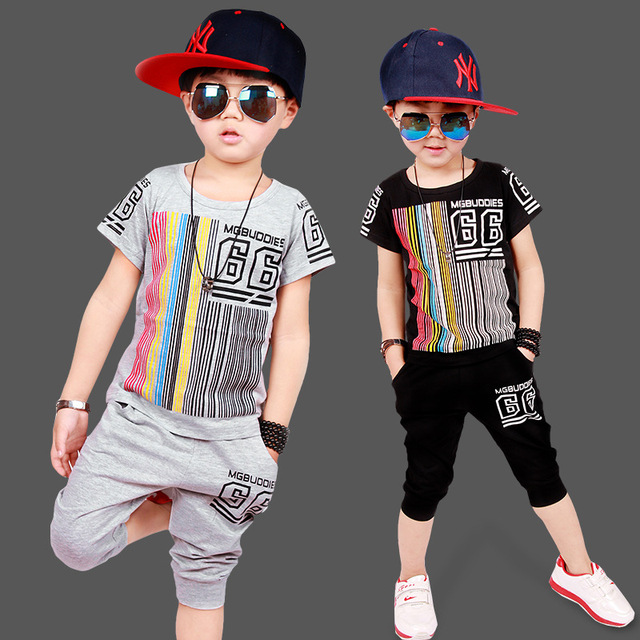 2016 Brand Children Kids Boys Clothes Sets Cartoon Boys T-Shirt + shorts sport suit Baby Boy Clothes Fit 4-14 years Kids