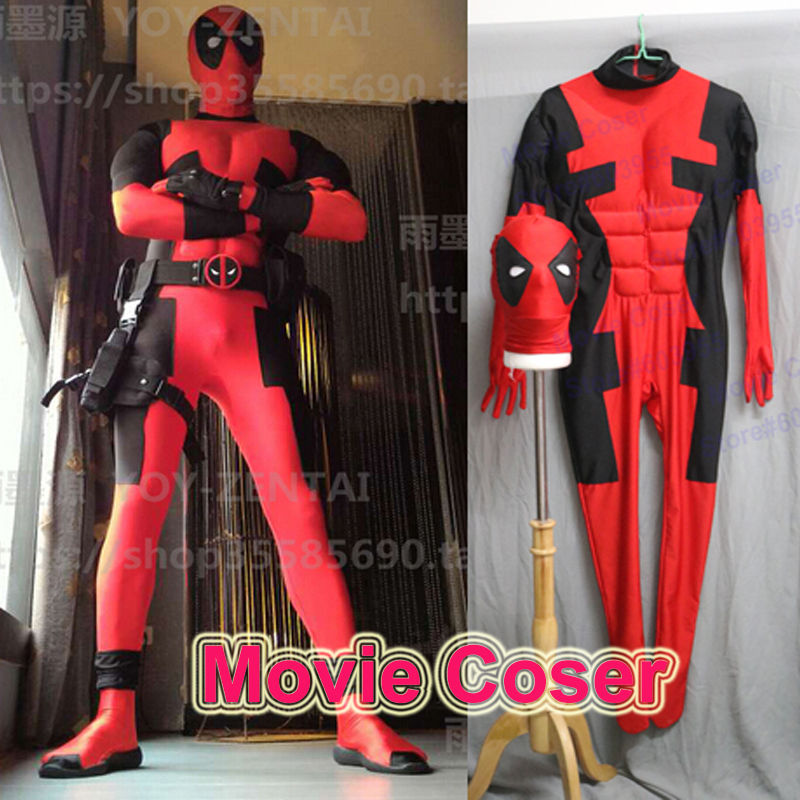MovieCoser Best Quality Super Hero Deadpool Costume Hero Red Costume Zentai Suit Custom Made Comic Adult Deadpool Spandex Suit