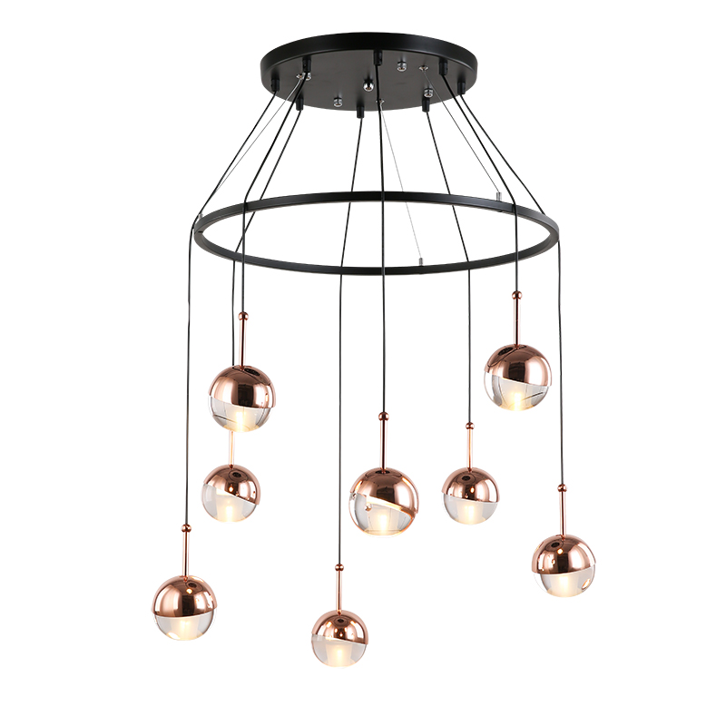 New arrival pendant lights clear acrylic ball and gold/rose gold metal lampshade Foyer hotel corridor decoration droplightNew arrival pendant lights clear acrylic ball and gold/rose gold metal lampshade Foyer hotel corridor decoration droplight