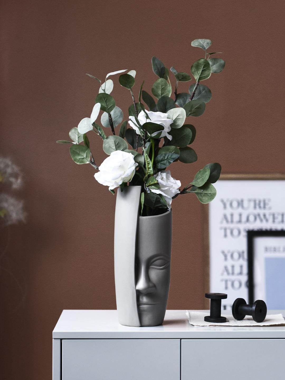 Nordic Face Art Vase Ceramic Flower Arrangement Vintage Artificial Vases Creative People Big Pot