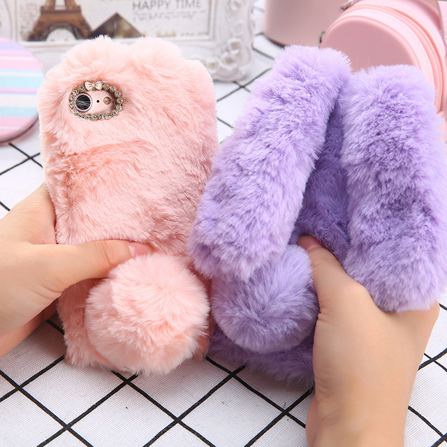 san francisco 3c86d ddef4 US $5.34 35% OFF|Luxury Fluffy Rabbit Fur Rabbit Ears Case For iphone 6 6s  Cover Bling Diamond Bowknot Phone Cases For iphone 6Plus 6s Plus Shell-in  ...
