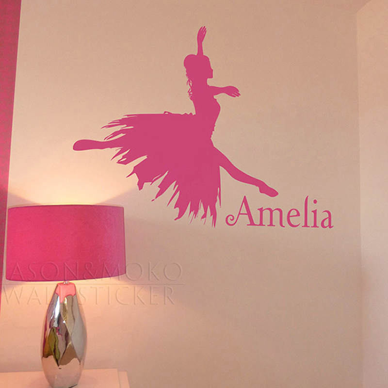 Girl Dancing Ballet Ballerina Customize Personalized Name Stickers Children Baby Girl Kids Room Decal Mural Wallpaper 45x60cm ...