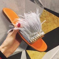 2018 New Arrival Flat Slides Crystal Feather Embellished Slippers Beach Vocation Summer Dress Shoes Women Sandals Wholesale