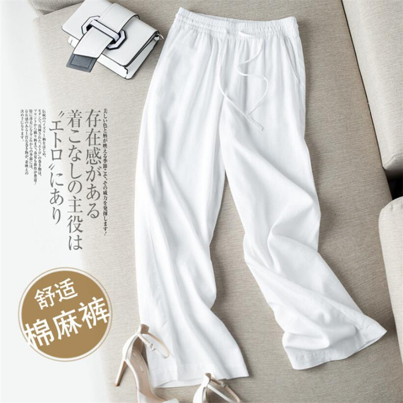 2019 Spring Summer women Cotton And Linen   Pants   female Casual Loose   Wide     Leg     Pants   Straight Long Trousers   Pants   r1066