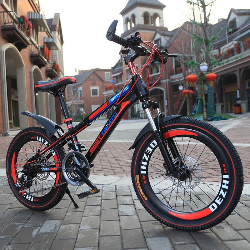 20 дюймов горный велосипед с переменной скоростью дисковый тормоз смелые шины детские мальчики и девочки студенты велосипеды спортивные де...