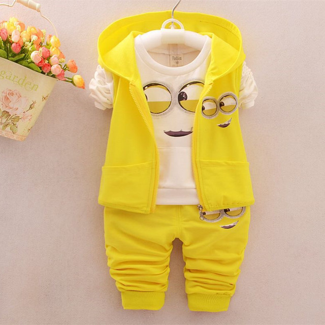 Kids Clothes minions Baby Boy/Girl Clothing set 3pcs sport suit Casual Children T-shirt + Pants+Vest  Boys costume child set 002