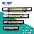 Oslamp 3-Row Reflection Cup LED Work Light Bar CREE Chips OffRoad Driving Light Bar 12V 24V Combo Led Bar for SUV ATV UTV PickUp